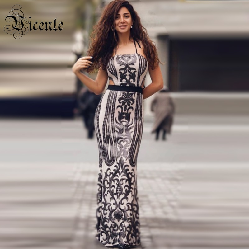 Free Shipping! 2018 New Chic Elegant Geometric Sequined Ruffles Sexy Sleeveless Halter Celebrity Women Wholesale Maxi Long Dress sequined halter chain dress