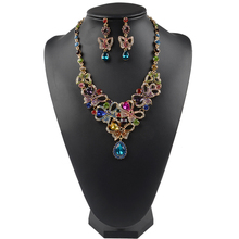 YONGMAN Multicolor Rhinestones Luxury Austrian Crystal Necklace Earrings Jewelry Set Indian Turkish Wedding Party Jewelry Sets