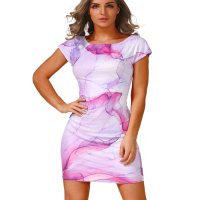 Sexy Summer Style Fashion Women Short Sleeve Party Mini Dress New Arrival Woman Vintage Print Elegant