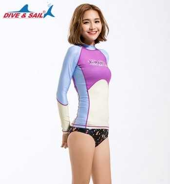 New Female Sexy Spandex Long Sleeve Swimwear Diving Women Bathing Suit Sport Print Surfing Beach