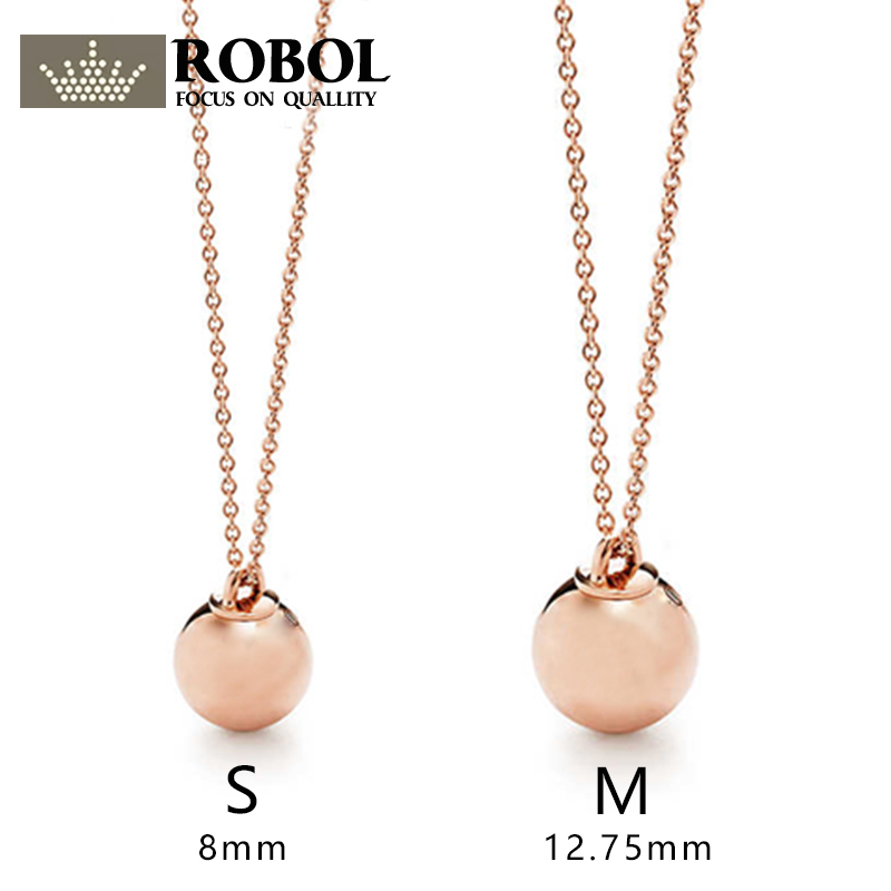 ROBOL Spherical Decorative Pendant Necklace Pendant 100% 925 Sterling Silver Pendant Nature Fashion Joker Jewelry Package Mail