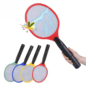 Triple Nets House Fly Swatter Electric Pest Repeller Bug Zapper Racket Wireless Long Handle