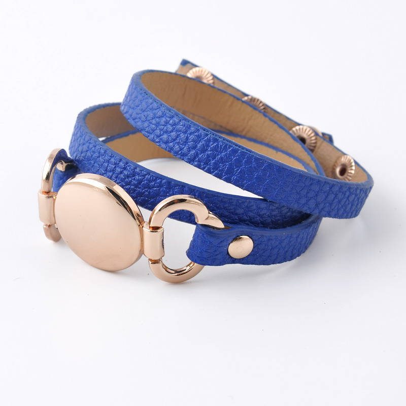 Rainbery 2018 New Style Monogram Leather Bracelet Hottest Sale Trendy With Blank Disc 3 Layer Monogram Wrap Leather Bracelet