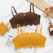 Roseheart Women Fashion Yellow Blue Underwire Padded Half Cup Bra Cotton Panties Push Up Set Sexy Lingerie Underwear B