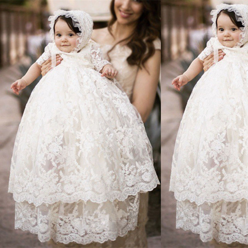 Baby Girls Christening Gown Long section full lace baby Baptism Clothes Princess Dress Baby Girls birthday