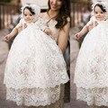 ADK sección Larga llena del cordón Del Bebé Niñas Traje de Bautizo del Bautismo del bebé ropa de princesa dress de los bebés cumpleaños 3 m 6 m 12 m 18 m 24 m