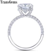 Transgems 14 K Beyaz Altın 4.5CT 10 MM Yastık kesim moissanit Altında Halo Nişan Yüzüğü Kadınlar için Yarım Sonsuzluk bant