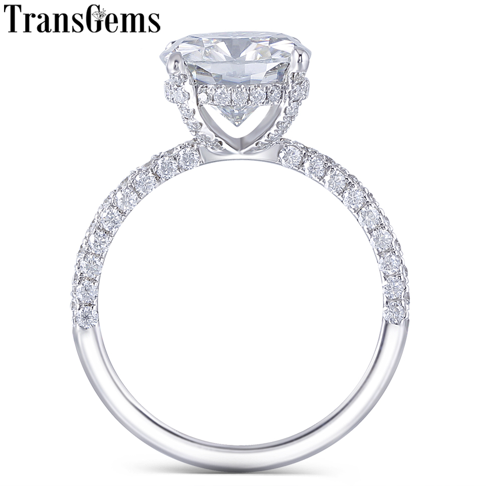 Transgems 14K White Gold 4.5CT 10MM Cushion Cut Moissanite Under Halo Engagement Ring for Women Wedding with Half Eternity Band-in Rings from Jewelry & Accessories