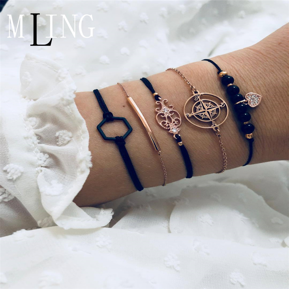 MLING 5 Pcs Set New Compass Totem Black Hexagon Bracelet Heart pendant Bijoux Jewelry Gifts in Charm Bracelets from Jewelry Accessories