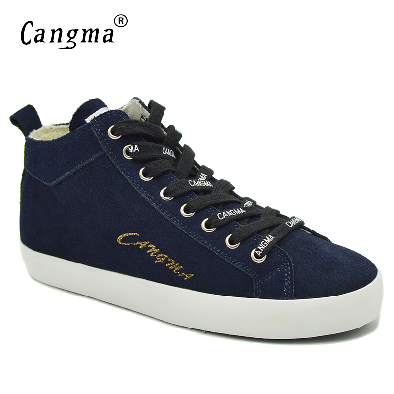 CANGMA Marque High Quality Women's Footwear Navy Blue Cow Suede Female Genuine Leather Sneakers For Girls Casual Shoes Mid Flats cangma original casual shoes women sneakers lace up black cow suede footwear female genuine leather mid leisure shoes for woman
