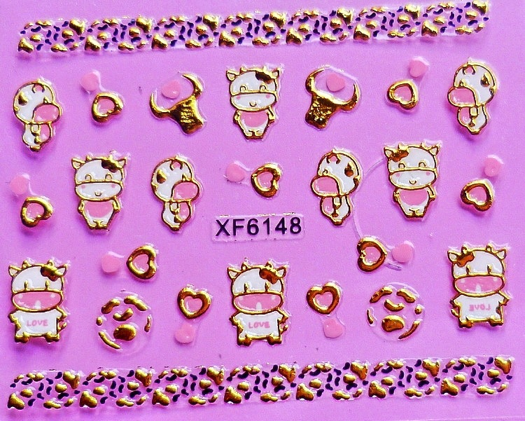 2 Sheet XFXF gold 3D nail stickers XF6148-in Stickers ...