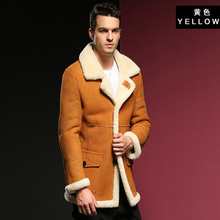 をホット保証本革シープスキン毛皮ムートン男性厚い毛皮衣類黄色冬のシープスキンジャケットの男性毛皮のオーバーコート