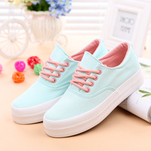 Plate-forme chaussures Toile chaussures femme mode 2016 blanc Casual chaussures Noir plus la taille 4.5-9