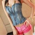 2016 новый Сексуальный женщины марка мисс мода ночной клуб завернутый груди джинсовая куртка топы Лето бальные женщины Low Cut леди блузки