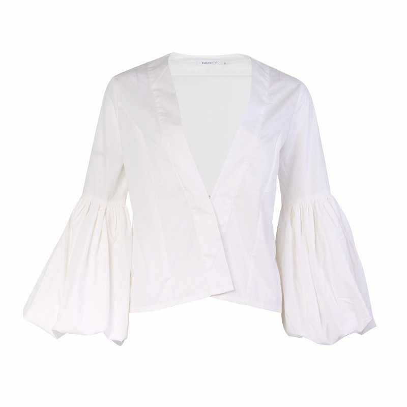 Twotwinstyle Lentera Lengan Baju Gamis Putih Wanita V Leher Panjang Lengan Kemeja Atasan Wanita Kasual Korea 2019 Fashion Musim Semi