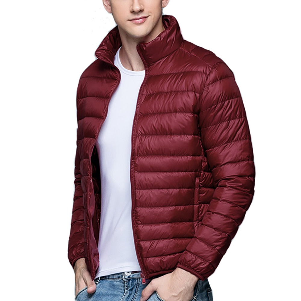 2019 Μπουφάν Ανδρών Κάτω Χειμώνας Φθινόπωρο Εξαιρετικά ελαφρύ Casual Μπουφάν μόδας Αδιάβροχο Αντιανεμικό Ανδρικό Μπουφάν Ζεστό κάτω Επάργυρο παλτό