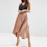 Bohemian Saia Faldas 2017 Silk Chiffon High Low Skirts For Women Zipper Custom Made Adult Female Skirt High End Zipper