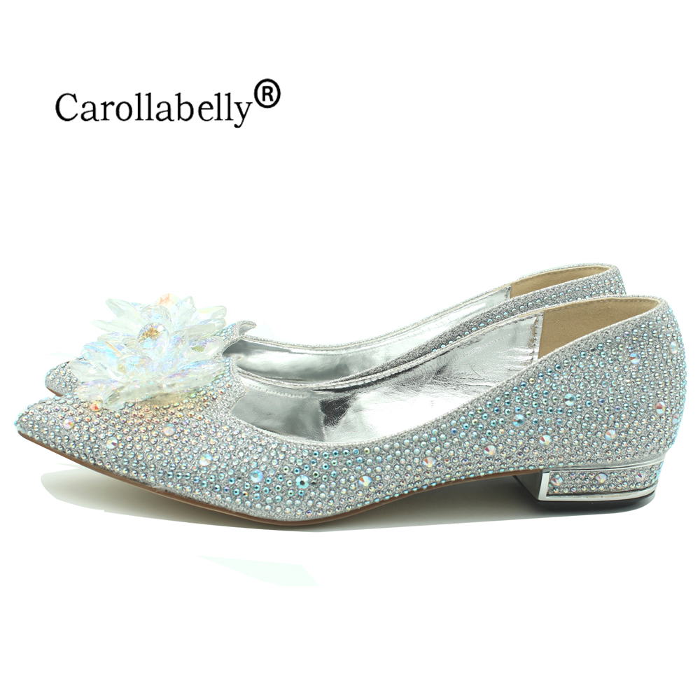 2019 New Rhinestone Crystle Cinderella Shoes Sexy Flat heel Women Shoes Wedding Shoes Flats Zapatos Mujer big size 34-43