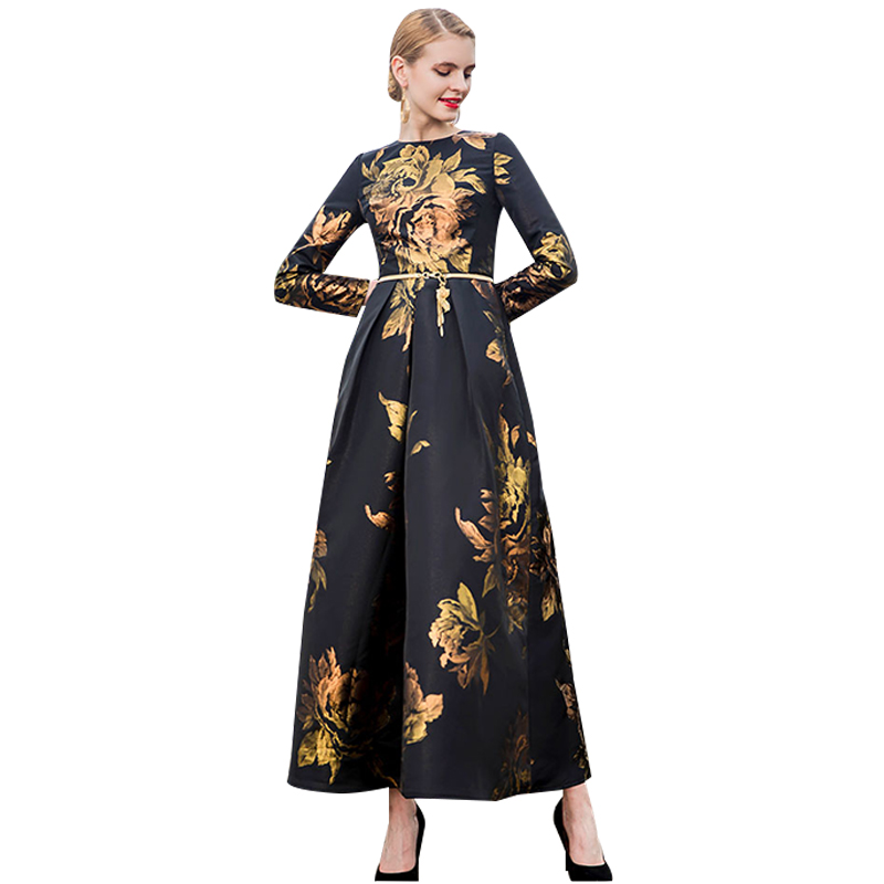 Fancy Dress 2018 Autumn Women Elegant Long Dress Printed Evening Gown Wedding Party Prom Special Occasion Maxi Long Dress DL1091
