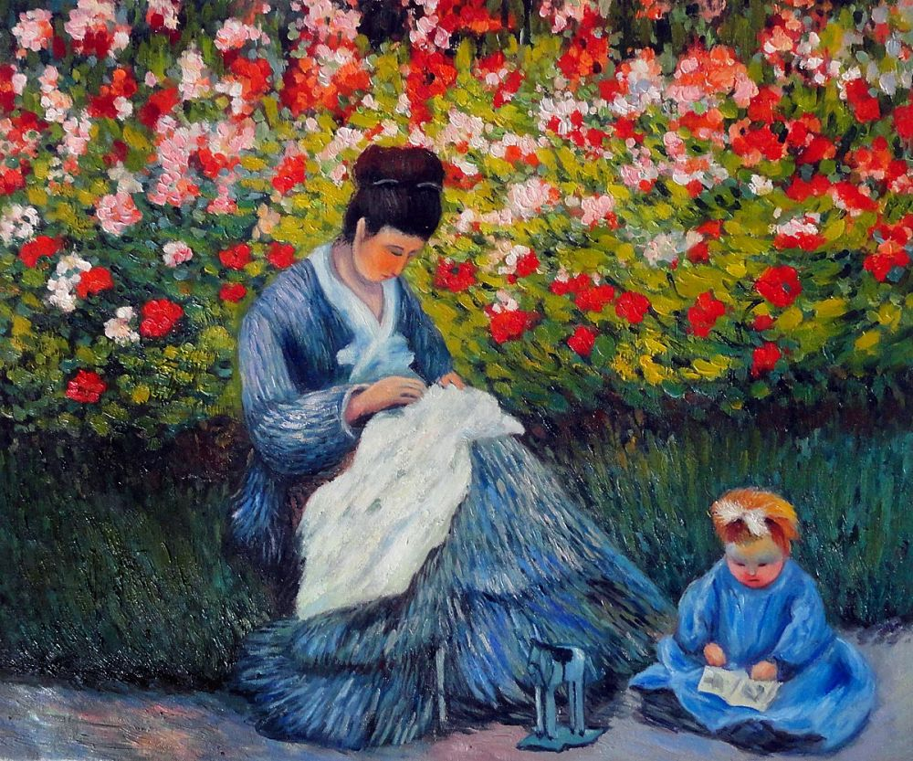 Camille Monet and a Child in the Artist's Garden in
