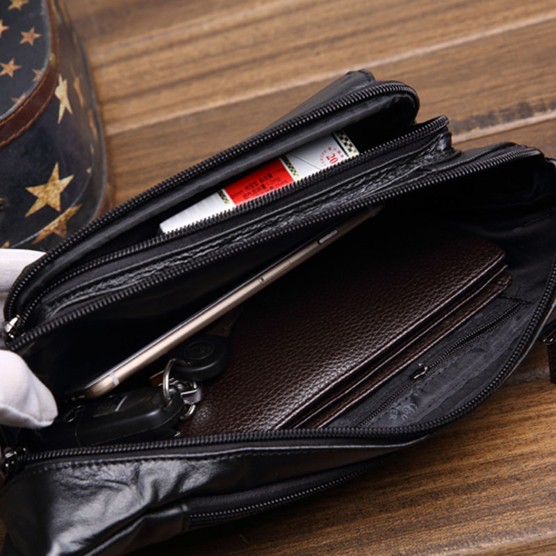100% Genuine Leather Sling Chest Bag Men Fanny Waist Pack Hip Belt Cell/Mobile Phone Purse Casual Male Real Cowhide Waist Bags