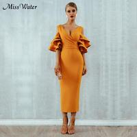 Newest Celebrity Evening Party Bodycon Dress Women Yellow Off The Shoulder Ruffles V Neck Sexy Night Out Dress Women Vestidos