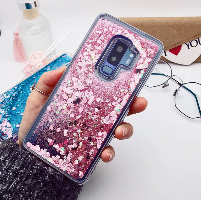 for Samsung Galaxy S9 case Back cover Bling Glitter Dynamic Quicksand Liquid Case for samsung S9 plus cover Galaxy S9 coque 2