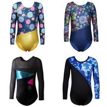 Black Dance Leotards Girls Mesh Long Sleeve Dancewear Child Ballet Dance Clothing Costumes Professional Gymnastic Leotards 2-13Y