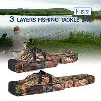 Blusea portátil vara de pesca carretel saco 120 cm/150 cm 3 camadas dobrável saco de pesca enfrentar saco de transporte caso viagem armazenamento pannier|Bolsas de pesca| |  -