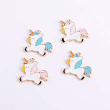 10pcs 18*18mm Cute DIY Enamel Unicorn Pendant Jewelry Findings Gold Color Charms Handmade Necklace Girls Kids Accessory YZ447