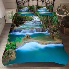 מצעי סט 3D מודפס שמיכה כיסוי מיטת סט יער מפל בית טקסטיל מצעי מבוגרים עם ציפית # SL03