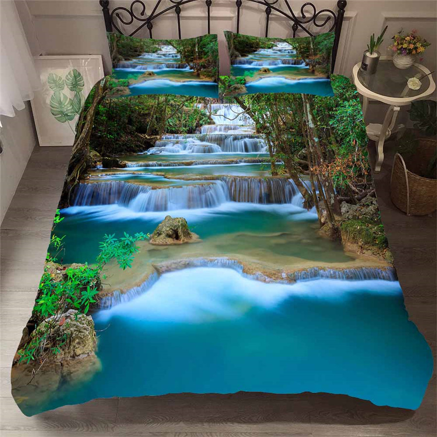 Bedding Set 3D Printed Duvet Cover Bed Set Forest waterfall Home Textiles for Adults Bedclothes with Pillowcase #SL03-in Bedding Sets from Home & Garden