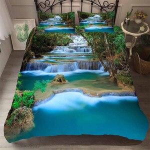Image 1 - Bettwäsche Set 3D Druckte Duvet Abdeckung Bett Set Wald wasserfall Hause Textilien für Erwachsene Bettwäsche mit Kissenbezug # SL03