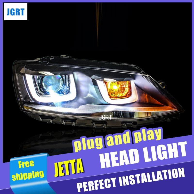 цена на car styling For VW Jetta headlights U angel eyes DRL 2012-2015 For Sagitar LED light bar DRL Q5 bi xenon lens h7 xenon