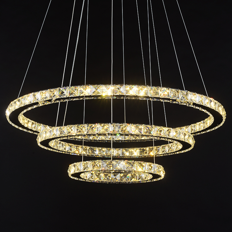 Ring LED Crystal Pendant lights modern living room light Dining room three bedroom creative personality pendant lamps a1 master bedroom living room lamp crystal pendant lights dining room lamp european style dual use fashion pendant lamps