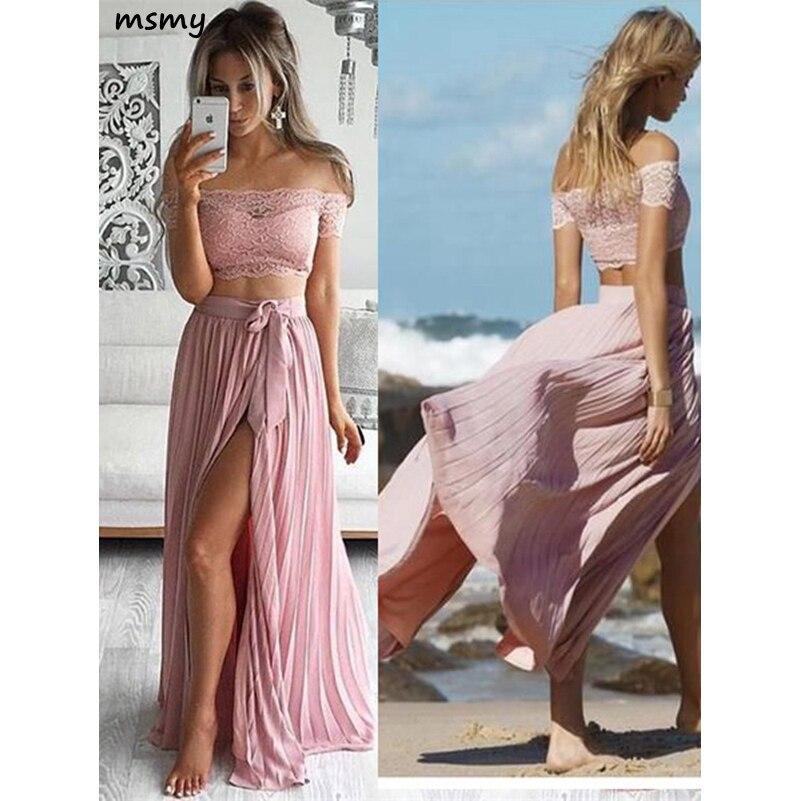 New Dirty Pink Sweetheart   Evening     Dress   A-Line Prom   Dress   Ruffles Floor Split Length Ruchned Off Shoulder Custom Made