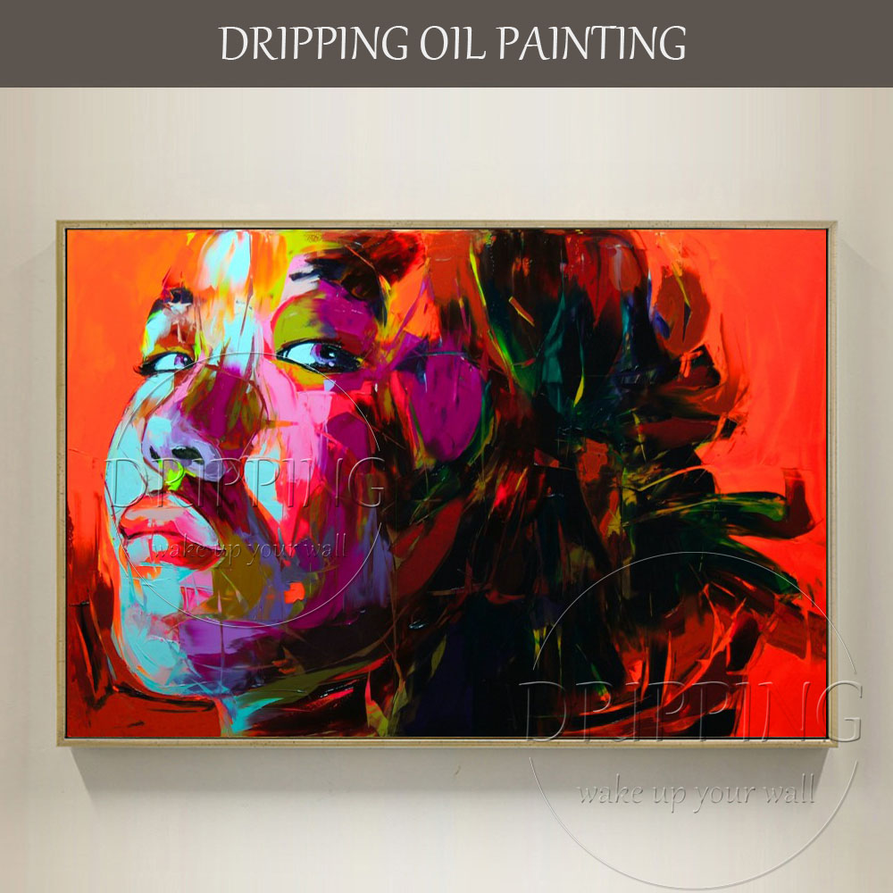 Skilled Artist Hand-painted New Modern Abstract Lady Portrait Oil Painting on Canvas for Living Room