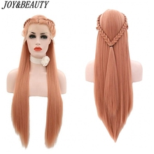 JOY&BEAUTY Synthetic Lace Wigs 28 Inch Pink Braid Hair Heat Resistant Lace Front wig Long Straight hair Free Hair Cap For Women