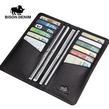 BISON DENIM Fashion casual stil herren brieftaschen aus echtem leder Dünne weiche schwarz lange brieftasche männer clutch taschen N4386-1