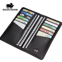 BISON DENIM Fashion casual style męskie portfele prawdziwej skóry Cienki miękki czarny długi portfel mężczyźni sprzęgło torby N4386-1