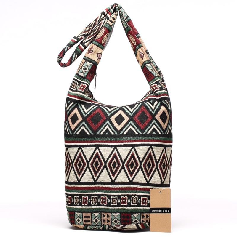 Annmouler New Women Shoulder Bag Woven Fabric Messenger Bag Aztec Hippie Bag  Capacity Crossbody Bag Female Bohemian Hobo