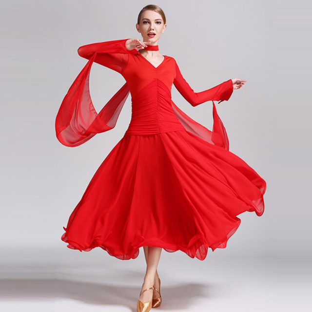 b614ec72969 Rouge noir robe de danse standard danse costume de salon femme robe foxtrot  robe de valse
