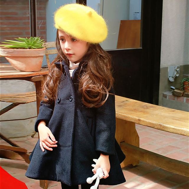 Children Heavy Woolen Cloth Loose Coat  Autumn Winter Buckle Children's Korean Kids Clothing