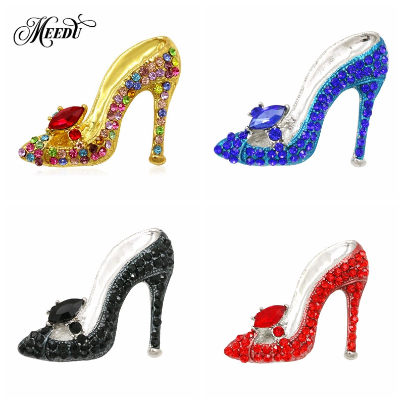 MEEDU Glass Sexy Young Lady Colorful Crystal High Heel Charming Desgin  Shoes Brooch Pin For Women e8672c8c25cf