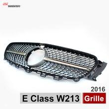 Diamenty W213 ABS Srebrny Przedni Zderzak Racing Grille Grill Dla Mercedes Klasy E 2016 E200 E300 Z Centrum Logo Gwiazdy