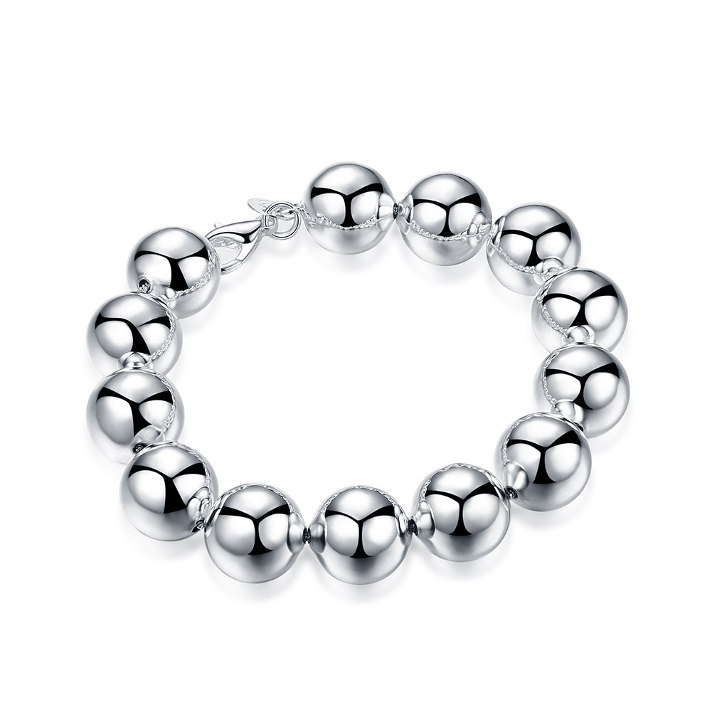 Unisex Ball Jewelry Big SIze 14MM Prayer Beads Bracelet Femme Classic Charms Silver Plated String Bracelets Men