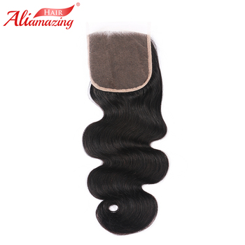 Ali Amazing Hair Lace Closure 5x5 Brazilian Body Wave Remy Human Hair Closure With Baby Hair Middle/Free/Three Part #1B Color