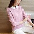 Das 48 mulheres novas Coreano de colarinho branco pequeno magro knit sweater casaco F1486 cabeça feminina