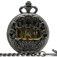 2016 New Arrive DAD Pocket Watch Skeleton Design Retro Mechanical Watches Men Gift Steampunk