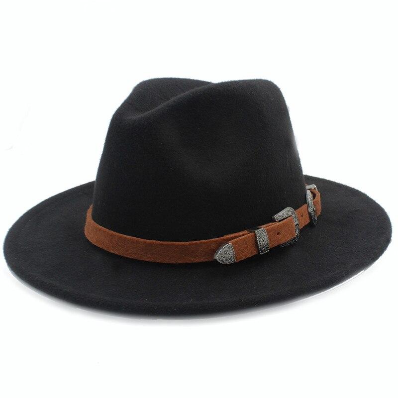 999991641de4f Hombres lana Fedora sombrero con la moda Caballero Correa Iglesia invierno ala  ancha padrino sombrero Jazz 56 58 cm en Sombreros de fieltro de Accesorios  de ...